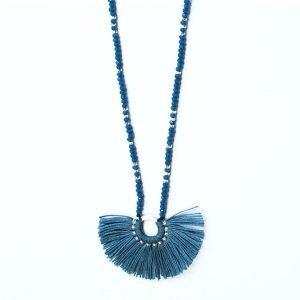 Fan Necklace - Light Blue